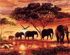 Elephants Landscape Canvas Painting Unique - DIY Paint By Numbers - Numeral Paint
