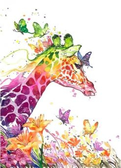 Cartoon Giraffe Animals Modern Wall Art Picture - DIY Paint By Numbers - Numeral Paint