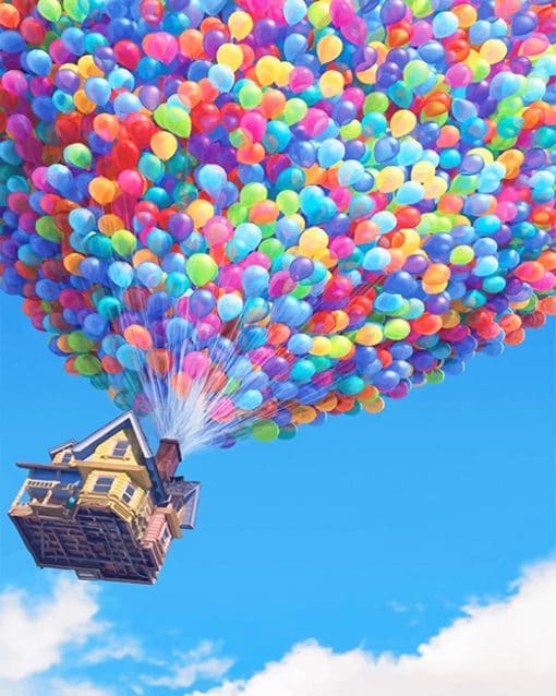 Colorful balloons flying house adult paint by numbers