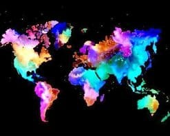 Colorful world map adult paint by numbers