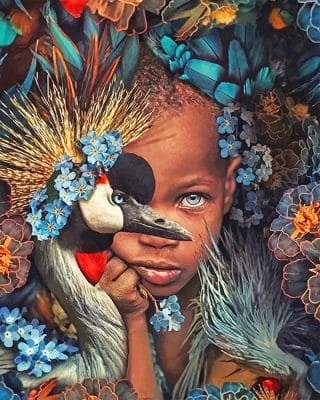 Peacock African boy adult paint by numbers