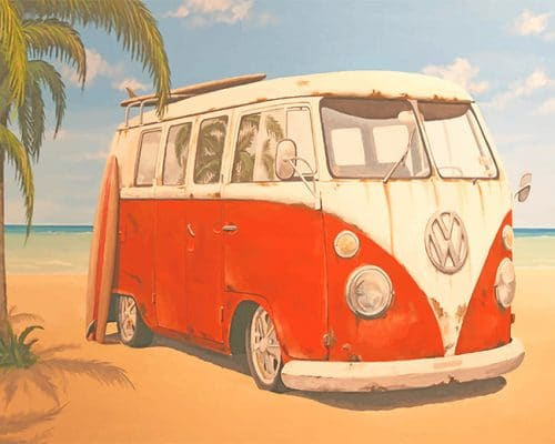 Vintage VW bus adult paint by numbers