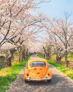 Yellow VW and cherry blossom adult paint by numbers