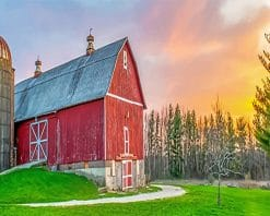 Beautiful Barn Sunset paint by number