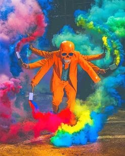 Skull Enjoying The colorful Paint by numbers Smokes