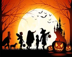 Halloween celebration silhouette adult paint by numbers