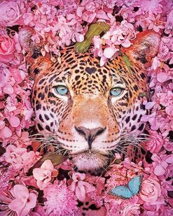 Tiger Purple Flowers Paint By Numbers