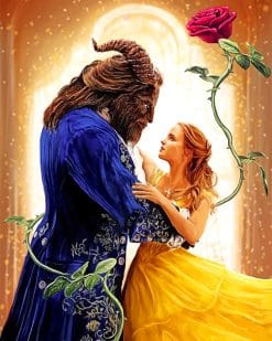 Beauty and the beast romance adult paint by numbers