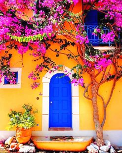 Blue Door of Greek house adult paint by numbers