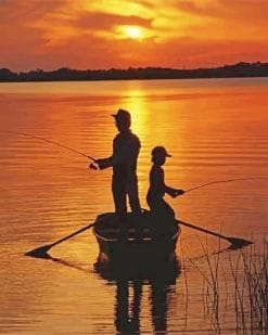 Father And Son Fishing Silhouette paint by number