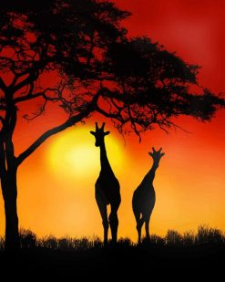 Giraffe Sunset adult paint by numbers