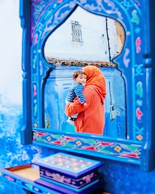 Mom And Son Chefchaouen paint by number