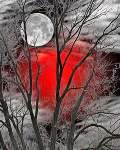 Moon forest red silhouette adult paint by numbers