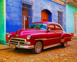 Red vintage car adult paint by numbers