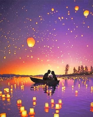 Romantic date silhouette adult paint by numbers