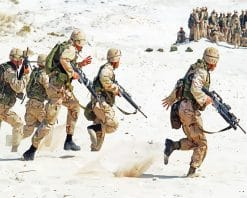 Soldiers Holding Rifle Running on White Sand adult paint by numbers