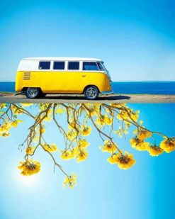Yellow VW Sunflowers Shadow adult paint by numbers