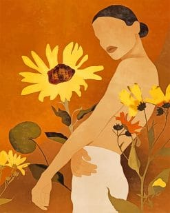 Abstract Art Sunflower Woman paint by number
