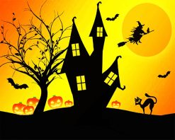 Halloween House Silhouette paint by number