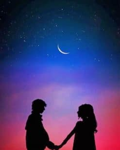 Lovely Couple Silhouette paint By Numbers