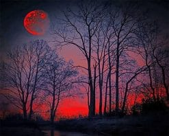 Red Forest Silhouette Paint By Numbers