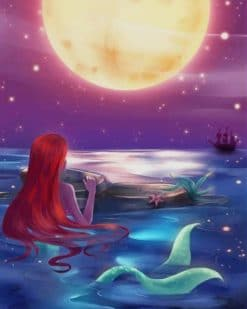 The Little Mermaid Watching The Moon paint by numbers