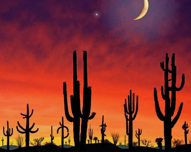 Arizona Cactus Silhouette paint by number