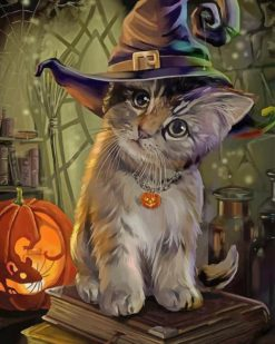 Cat Halloween paint by numbers