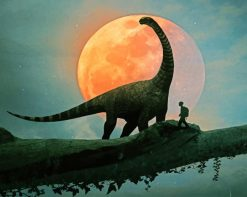 Dinosaur And Kid Silhouette paint by number