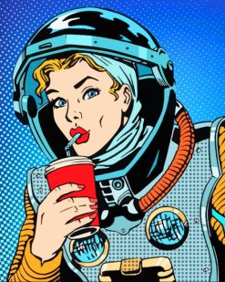 Astronaut Girl Pop Art paint by numbers