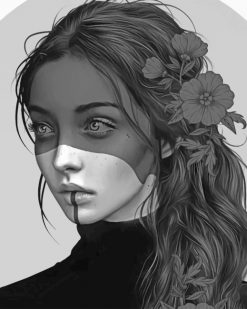 Black And White Girl paint by numbers