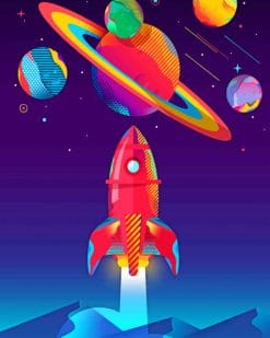 Illustration Space paint by numbers
