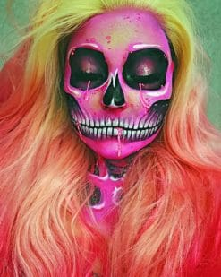Pink Skull Girl paint by numbers