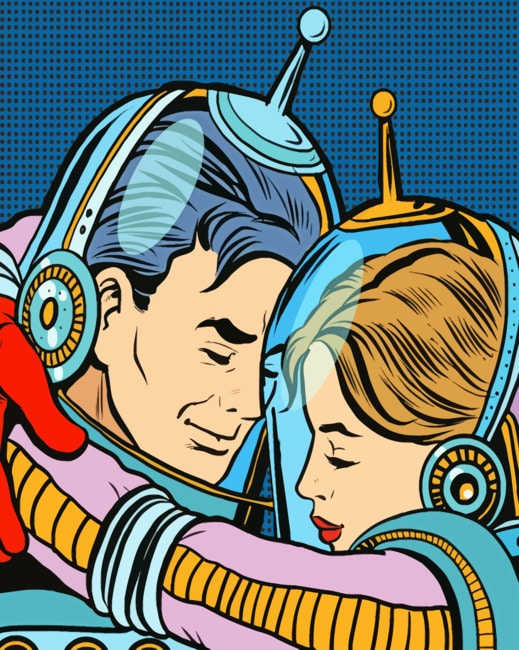Pop Art Astronaut Couple paint by numbers