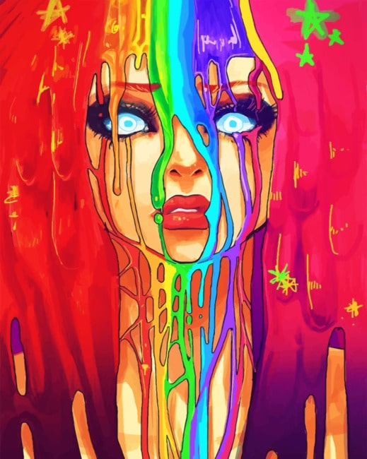 Rainbow Illustration Girl paint by numbers