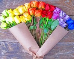 Rainbow Roses Bouquet paint by numbers