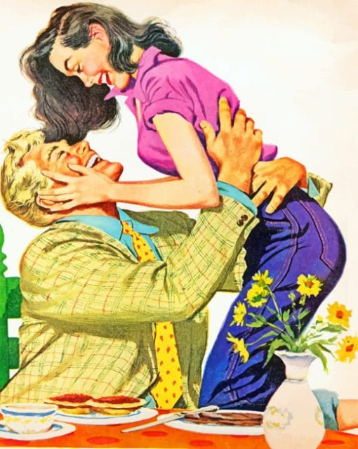 Vintage Illustration Couple paint by numbers