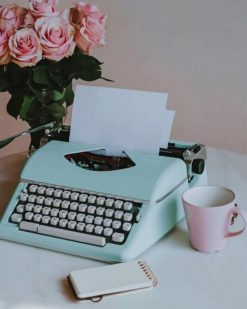 Aesthetic Blue Typewriter paint by numbers