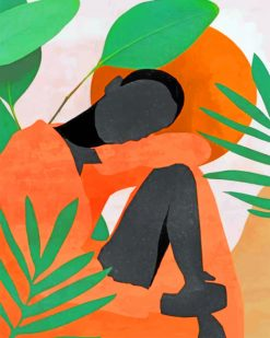 African Woman With Leaves Abstract paint by numbers