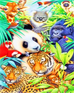 Jungle Animals Illustration paint by numbers