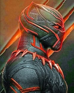 Black And Red Panther Marvel paint by numbers