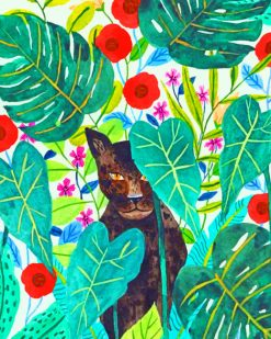 Black Panther With Flowers Illustration painnt by numbers