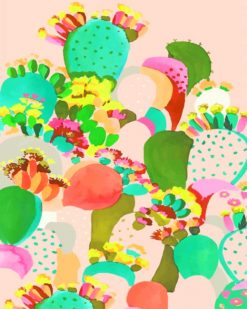 Colorful Cactus Illustration paint by numbers