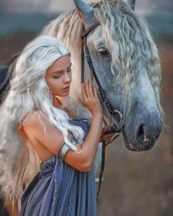 Daenerys Targaryen With Horse paint by numbers