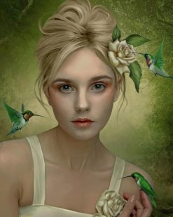 Girl With Hummingbirds paint by number