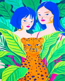 Girls With Tiger Abstract paint by numbers
