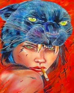 Panther Girl Art paint by numbers