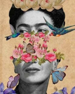 Frida Kahlo With Flowers Illustration paint by numbers