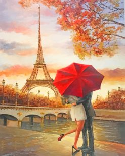 Romance Couple In Paris paint by numbers