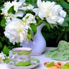 Tea With White Flowers Still Life paint by number